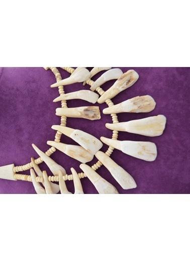 Stoneage Gerçek Kemik Kolye Özel Tasarım El Yapımı Bej
